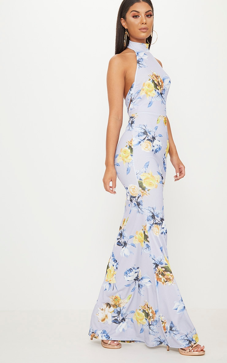 Dusty Blue Floral Print Cross Back High Neck Maxi Dress 4