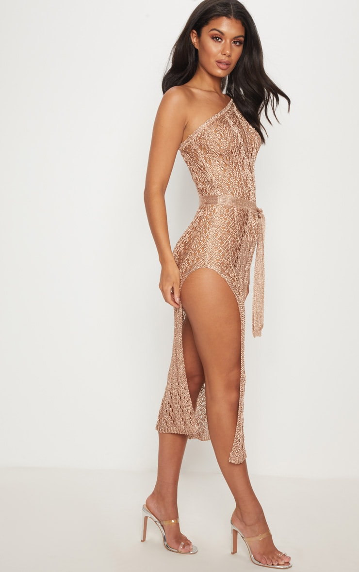 Rose Gold Asymmetric Open Knit Metallic Dress