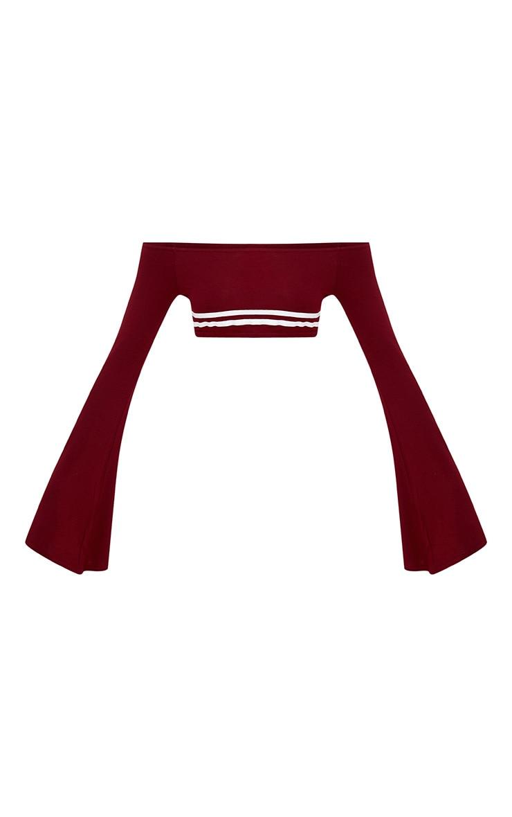 Burgundy Flare Sleeve Stripe Bardot Crop Top 3