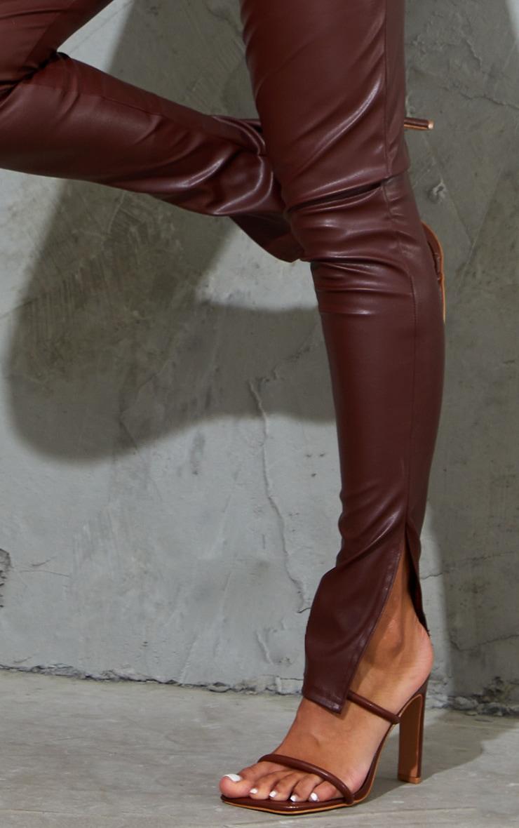 Chocolate PU Racer Neck Split Hem Jumpsuit 4