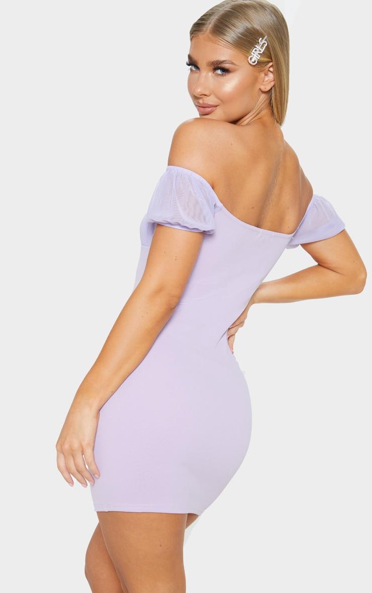 Lilac Ruched Bust Bardot Bodycon Dress 2