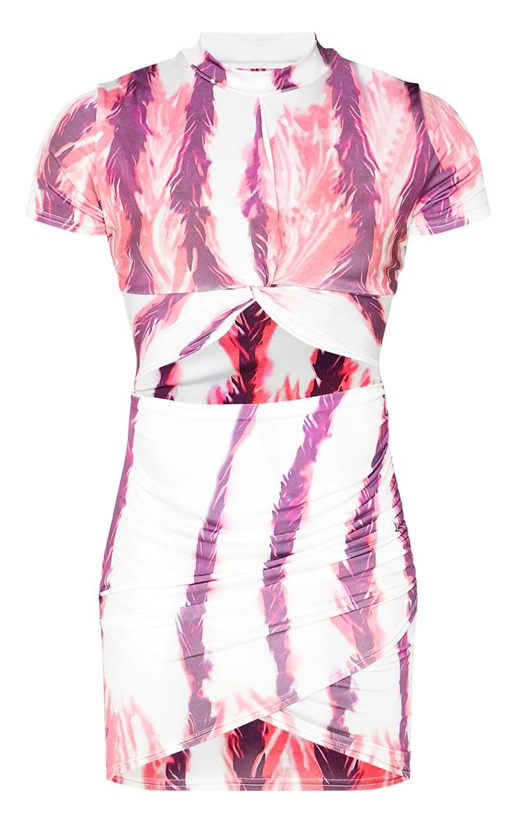 Multi Tie Dye Twist Front Cut Out Short Sleeve Bodycon Dress 5