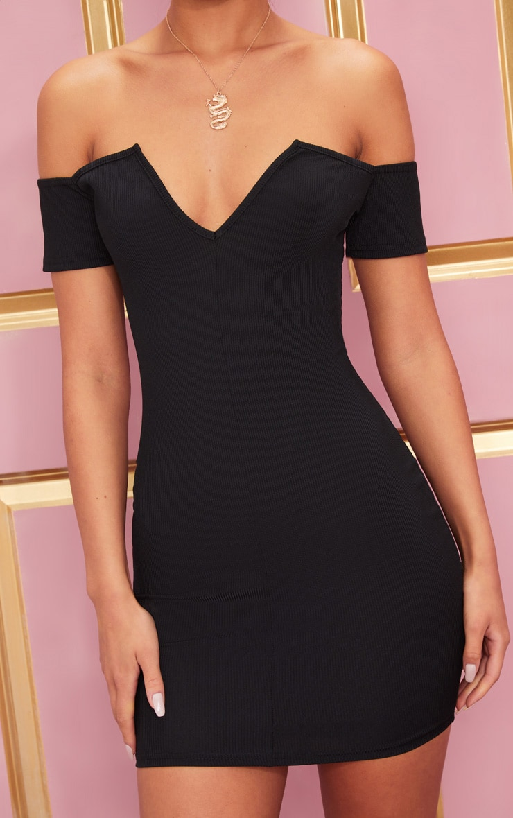 Black Ribbed Plunge Bardot Bodycon Dress 5