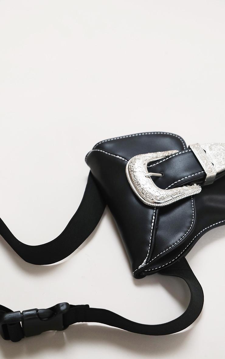 Black Ornate Buckle Waist Belt Bag 3