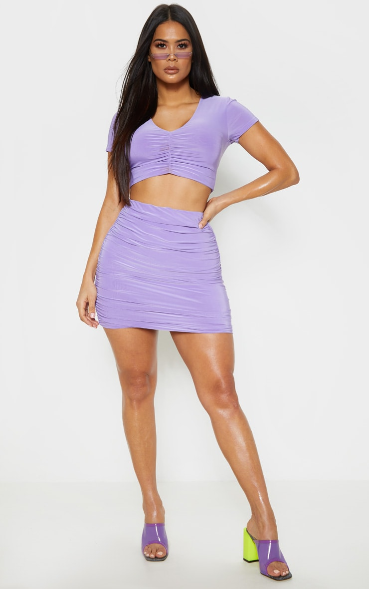Lilac Slinky Ruched Side Mini Skirt 1