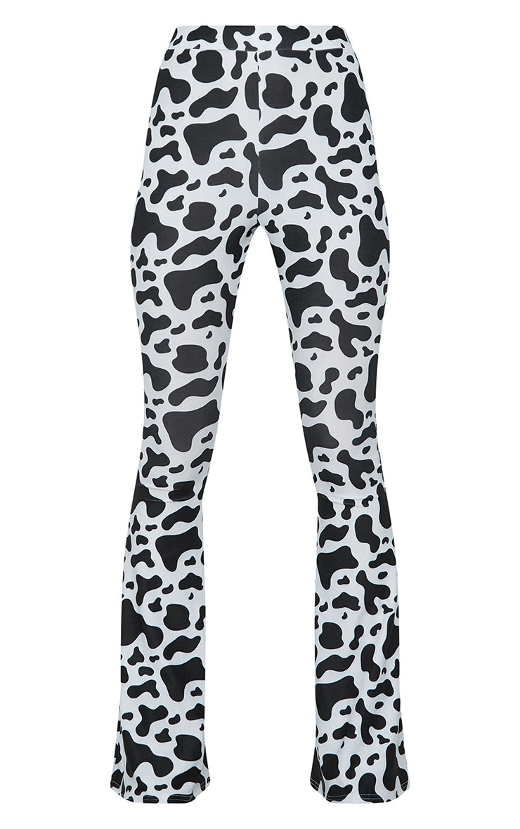 White Cow Print Slinky Flared Trousers 3