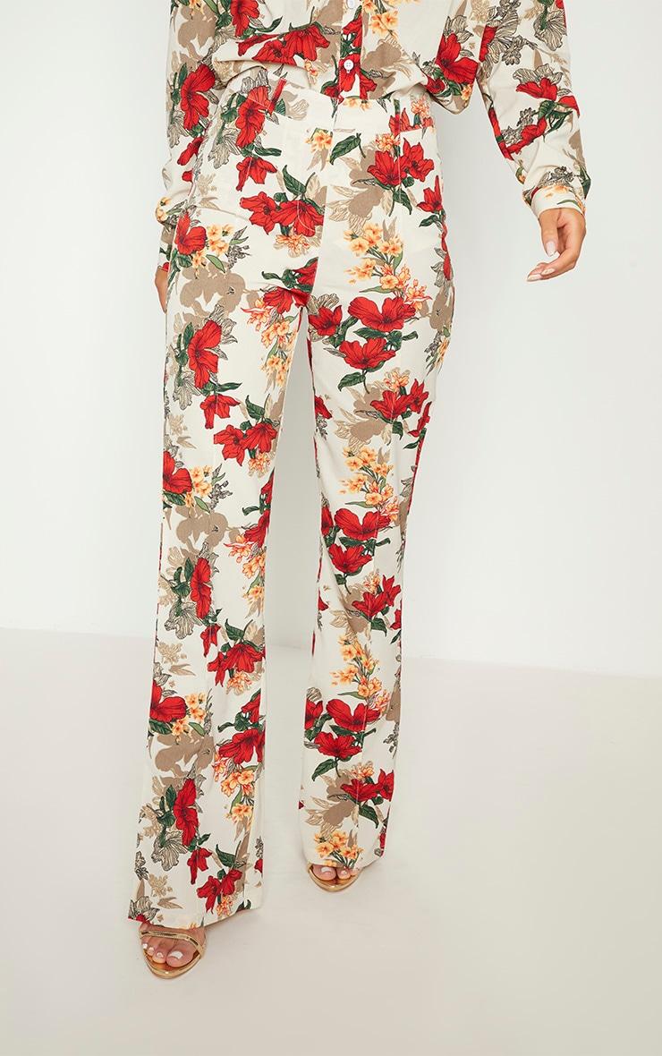 White Floral Print Straight Leg Trouser  2