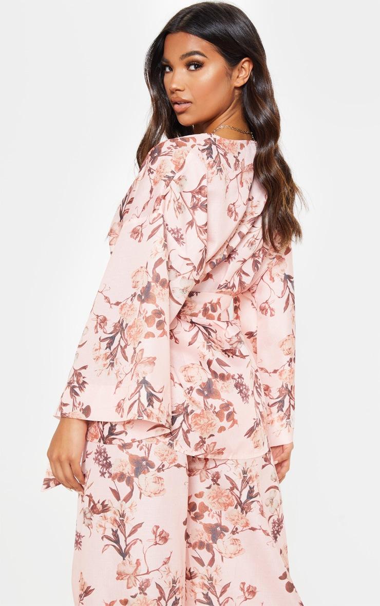 Pink Floral Belted Woven Blazer  2