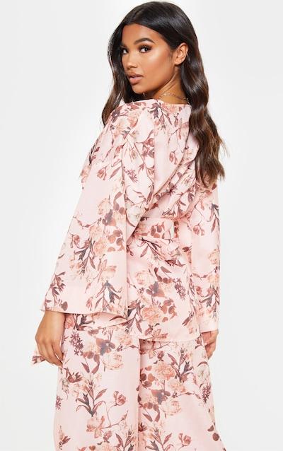 Pink Floral Belted Woven Blazer