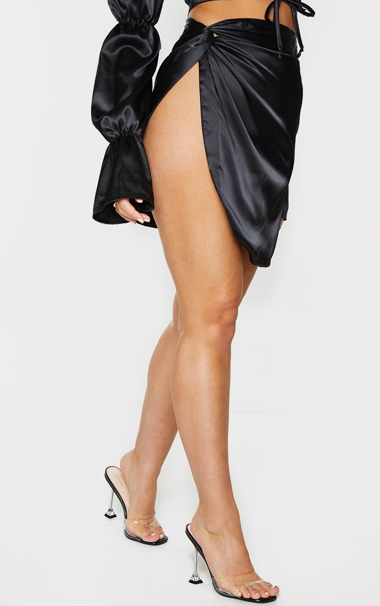 Black Satin Knot Detail Asymmetric Mini Skirt 2