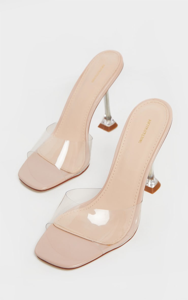 Nude Clear Heel Mule Sandals 1