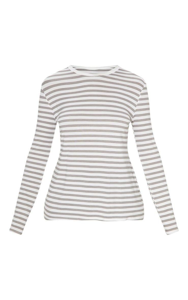 Grey Stripe Jersey Long Sleeve T Shirt 4