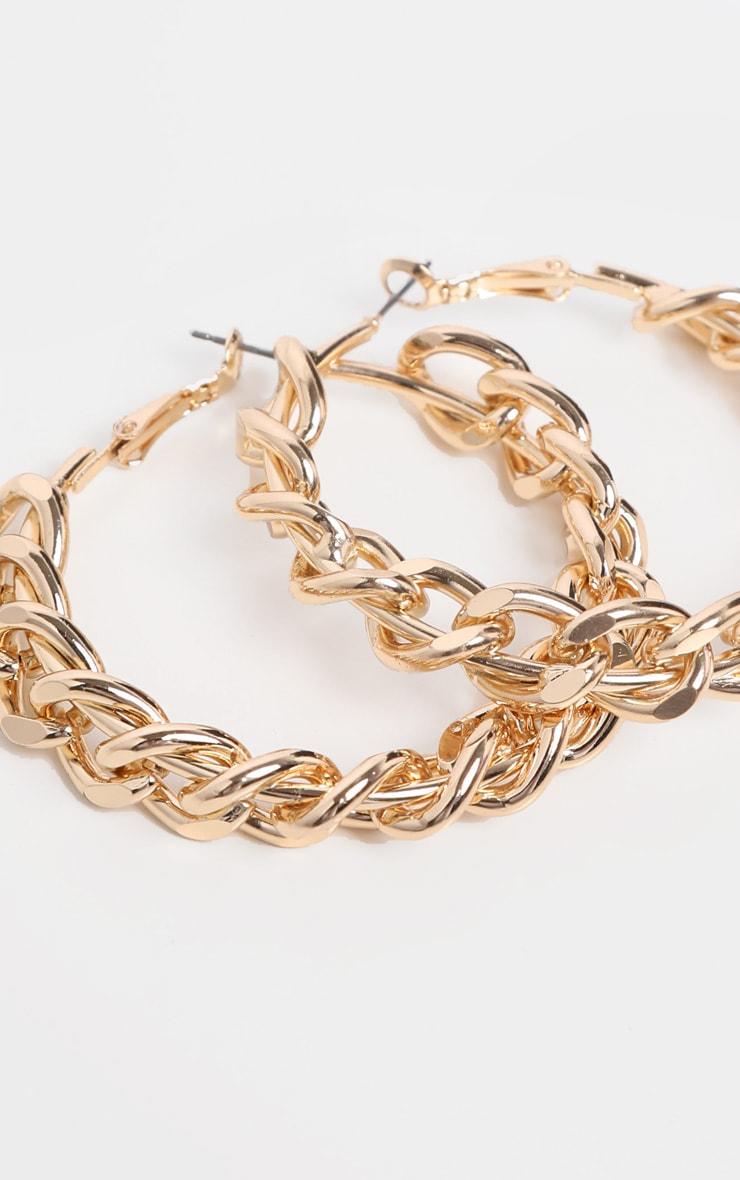 Gold Chunky Chain Hoop Earrings 1
