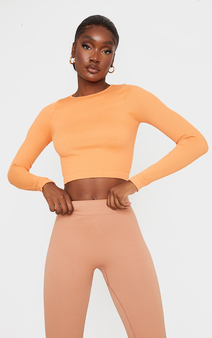 Tall Burnt Orange Structured Contour Ribbed Round Neck Long Sleeve Crop Top 1