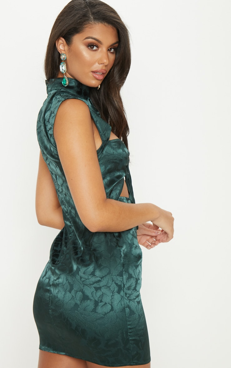 Emerald Green Floral Satin High Neck Cut Out Front Shift Dress 2