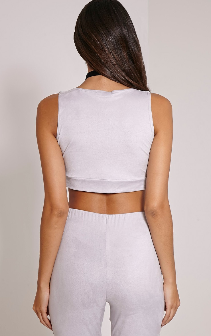 Sloan Grey Faux Suede Tie Detail Crop Top 2