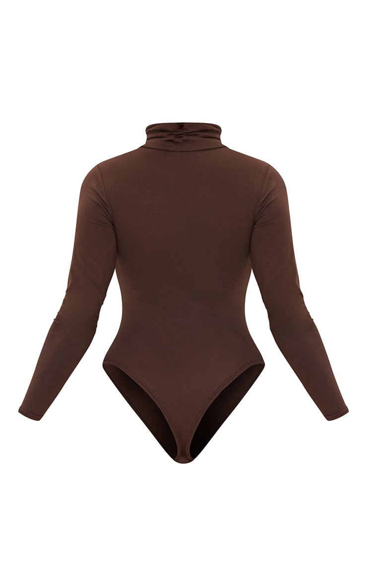 Chocolate Roll Neck Long Sleeve Bodysuit 6