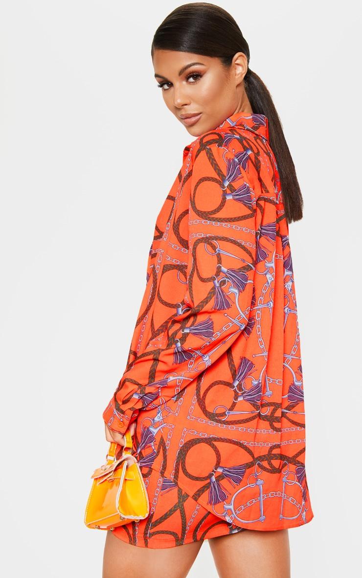 Orange Chain Printed Oversized Shirt 2