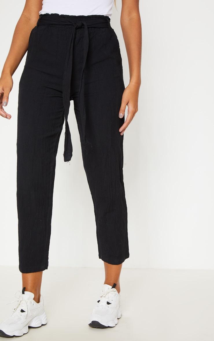 Black Paperbag Linen Feel Tie Waist Detail Pants 2