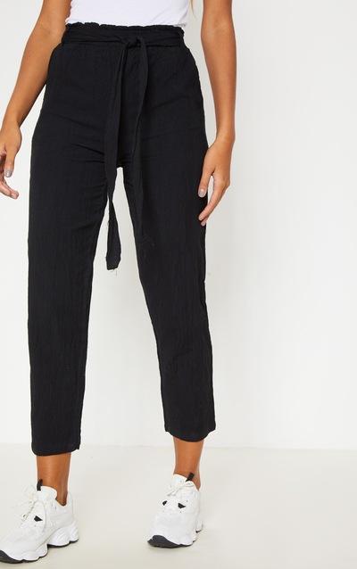 Black Paperbag Linen Feel Tie Waist Detail Trouser