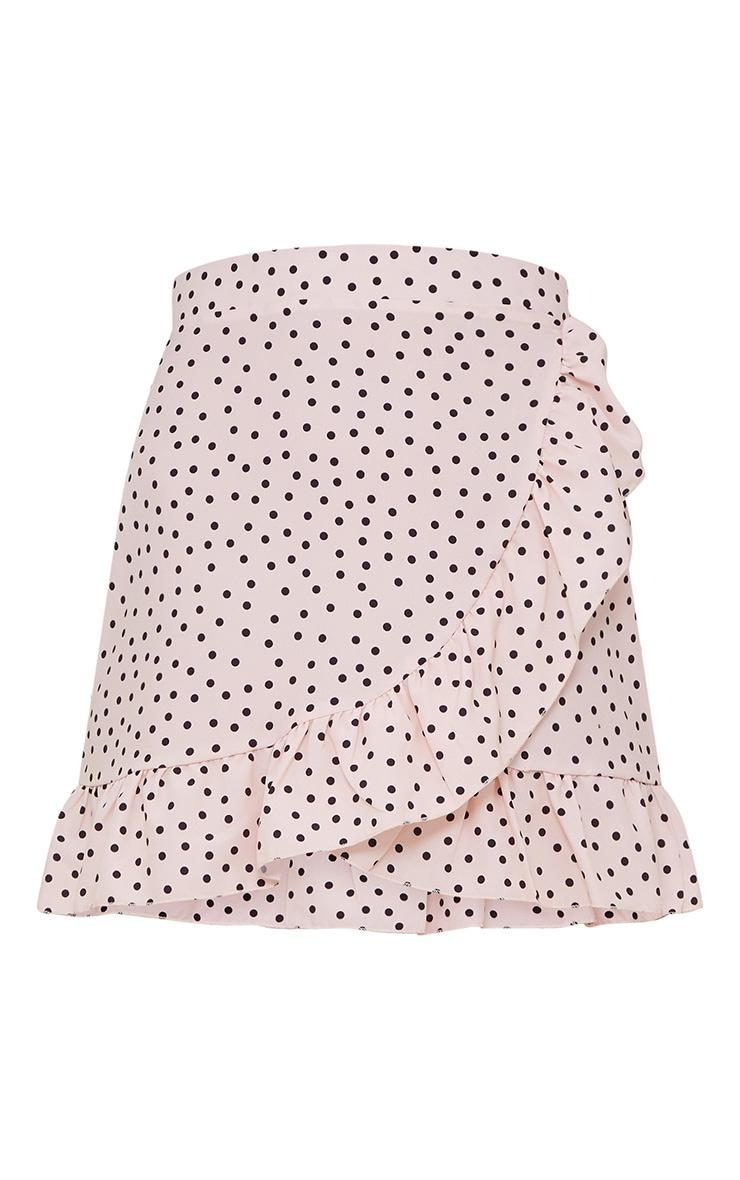 Mini-jupe nude coupe portefeuille à pois et ourlets volantés 3