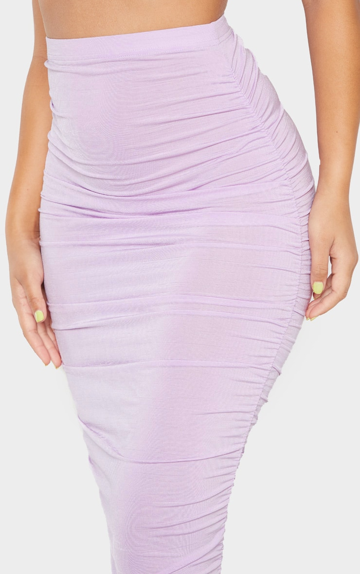 Lilac Second Skin Slinky Ruched Midaxi Skirt 5