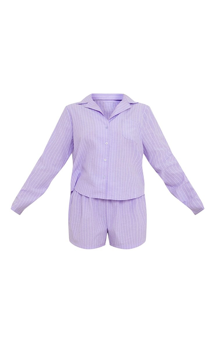 Lilac Striped Long Sleeve Shirt And Shorts Pj Set With Scrunchie 5