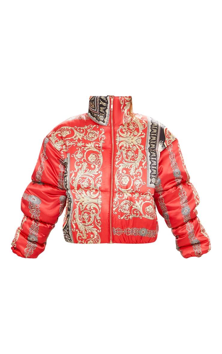 Petite Red Satin Scarf Print Puffer Coat 3