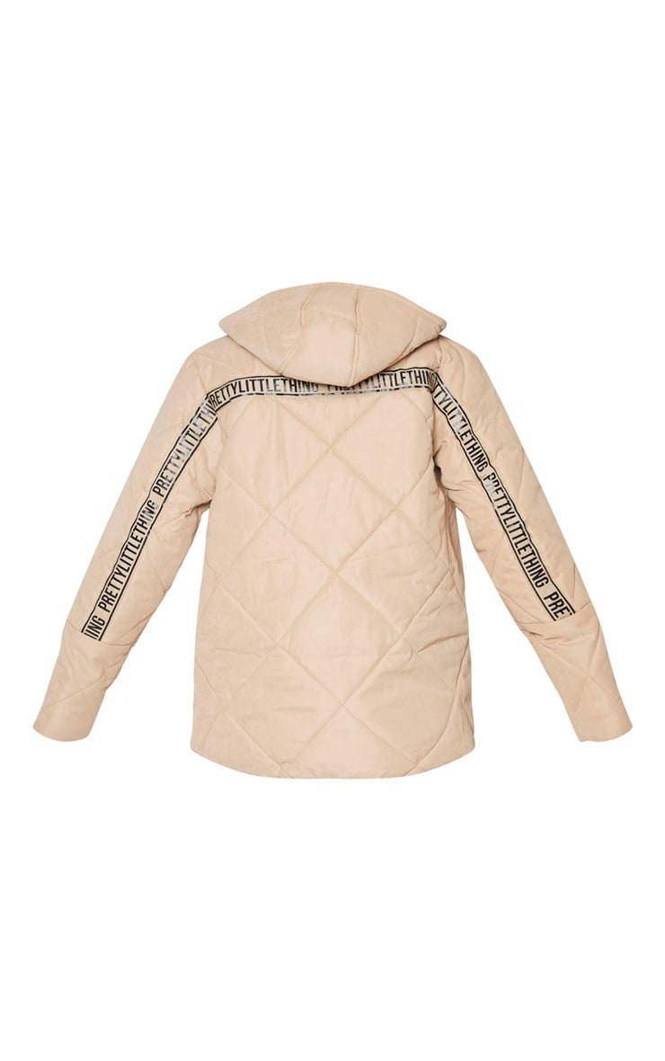 PRETTYLITTLETHING Stone Peach Skin Diamond Quilted Oversized Puffer 6