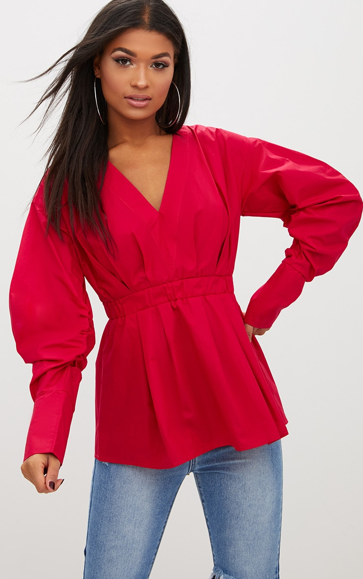 Red Ruched Sleeve Gathered Waist Shirt  1