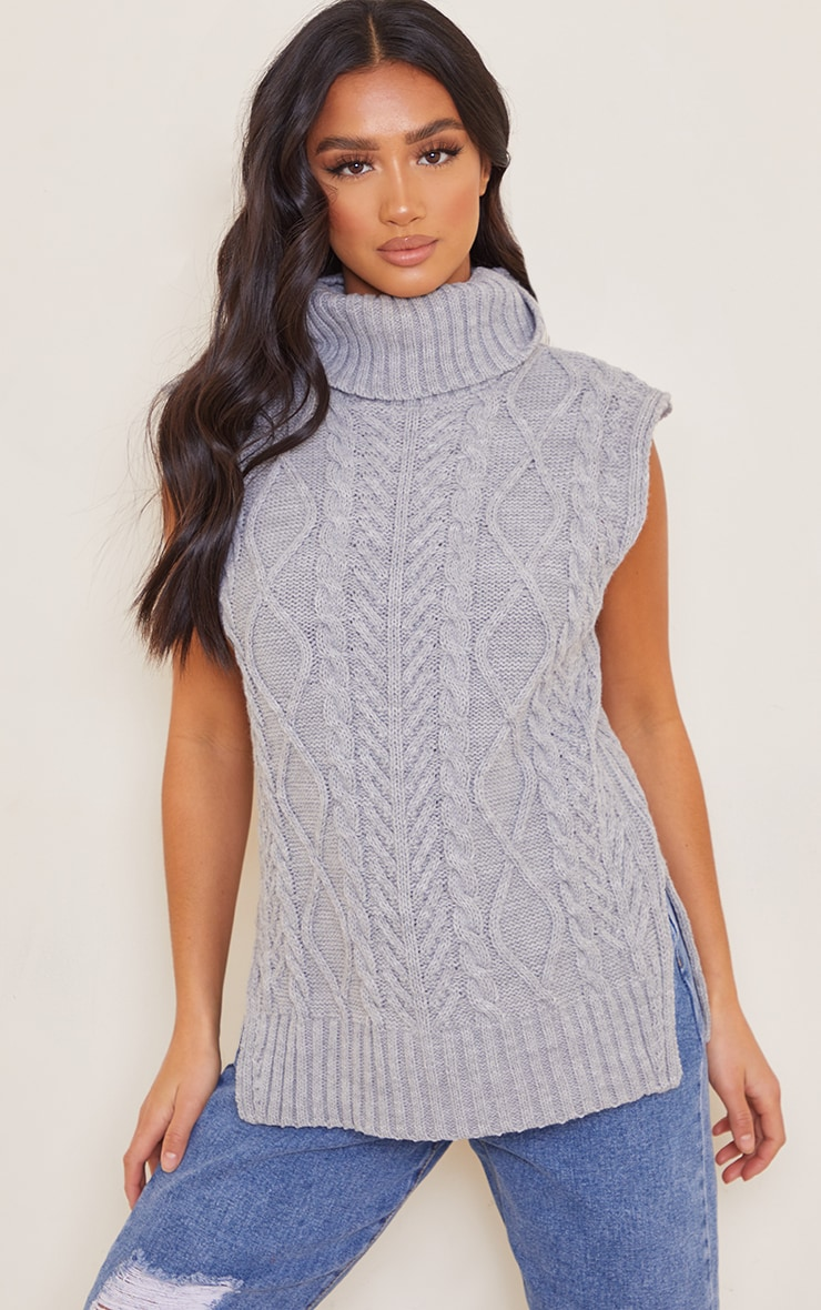Petite Grey Longline Sleeveless Cable Roll Neck Sweater 1