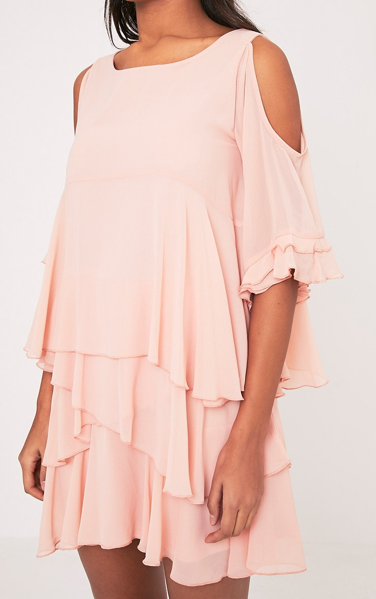 Tessa Blush Cold Shoulder Ruffle Swing Dress 6