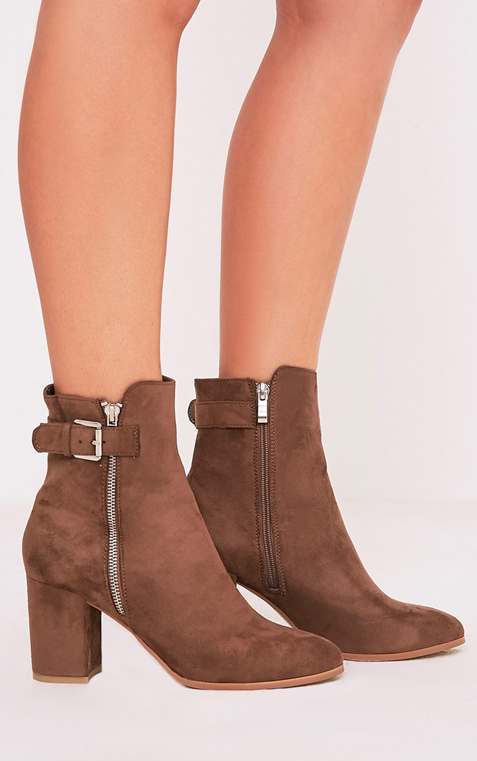 Karina Mocha Faux Suede Buckle Ankle Boots 2