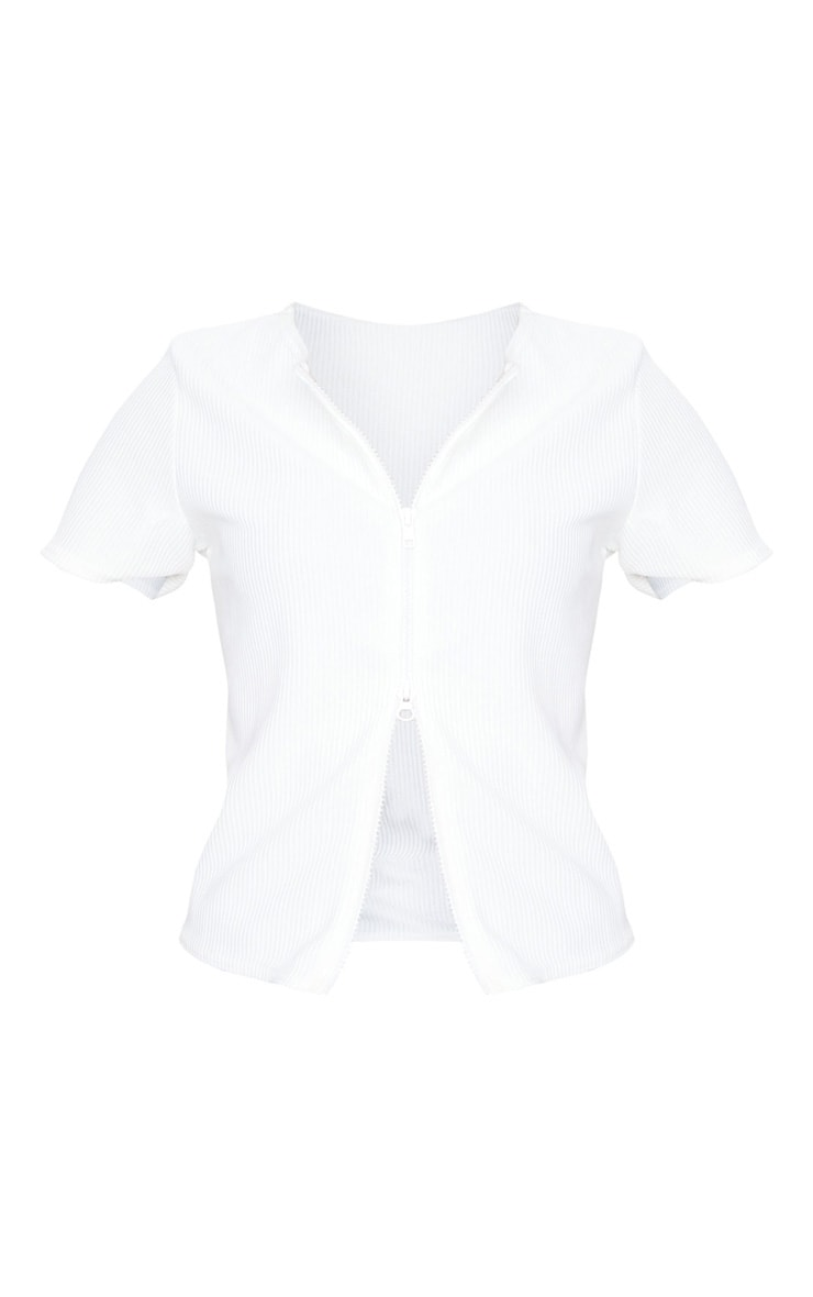 White Short Sleeve Jumbo Rib Double Zip Top 5