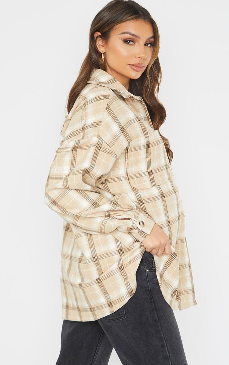 Maternity Camel Brushed Check Shacket 2