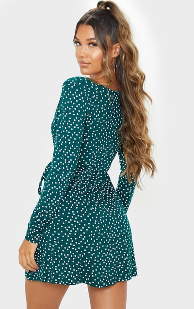 Emerald Green Polka Dot Print Wrap Long Sleeve Tea Dress