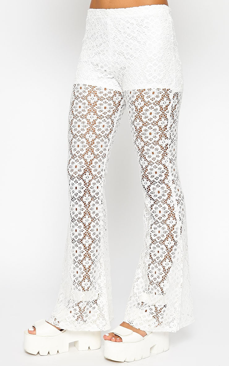 Natalia Cream Crochet Trousers 4