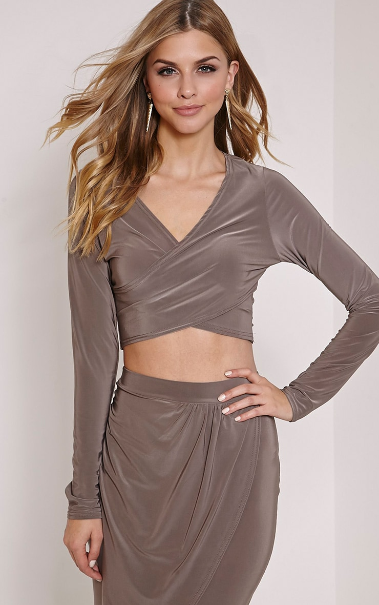 Ginevia Mocha Wrap Front Slinky Crop Top  1