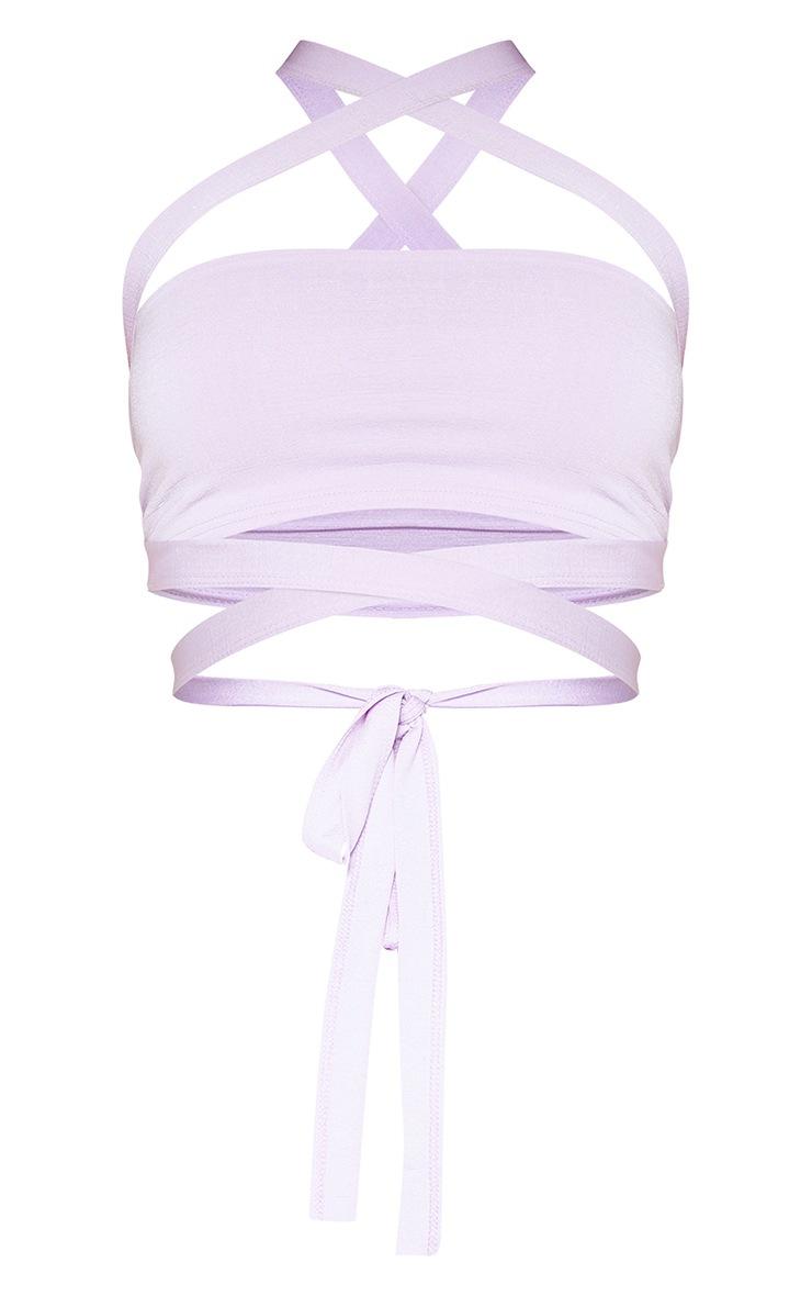 Lilac Slinky Tie Detail Bandeau Top 3