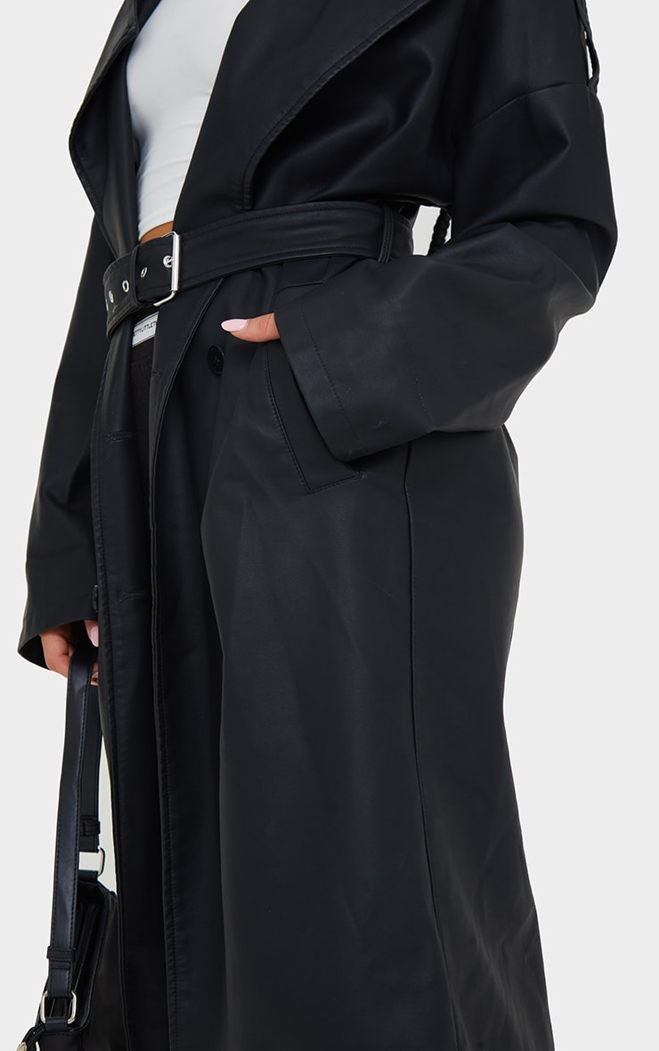 Black Faux Leather Drop Arm Midi Trench 4