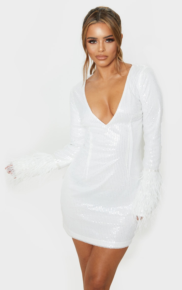 Petite White Plunge Sequin Feather Sleeve Mini Dress 1