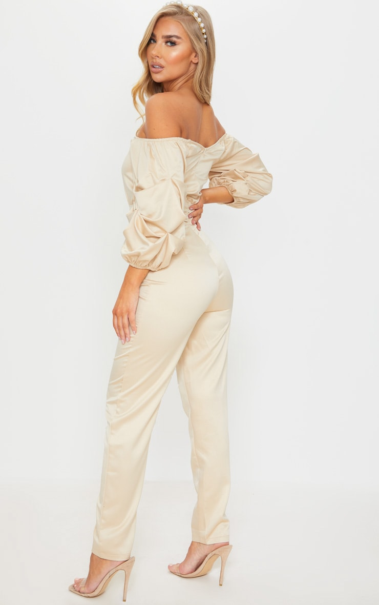Nude V Bar Gathered Sleeve Bardot Jumpsuit 2