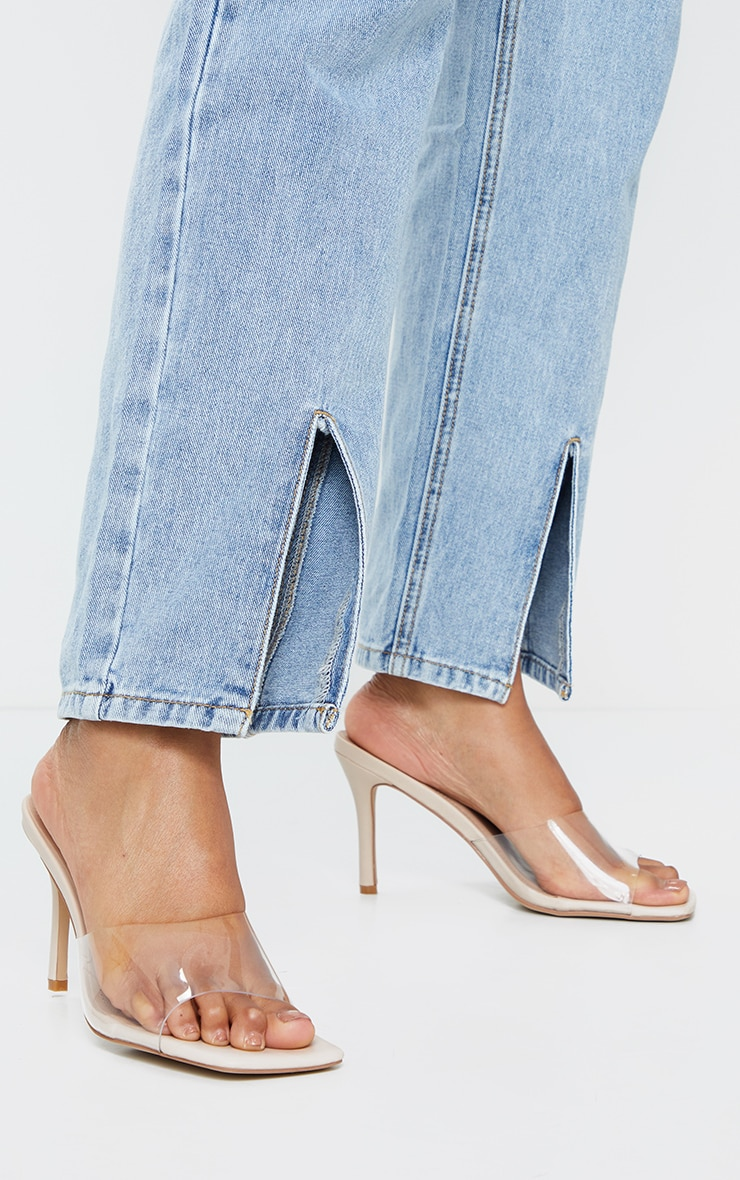 Nude Clear Strap Square Toe Mule Mid Heels 2