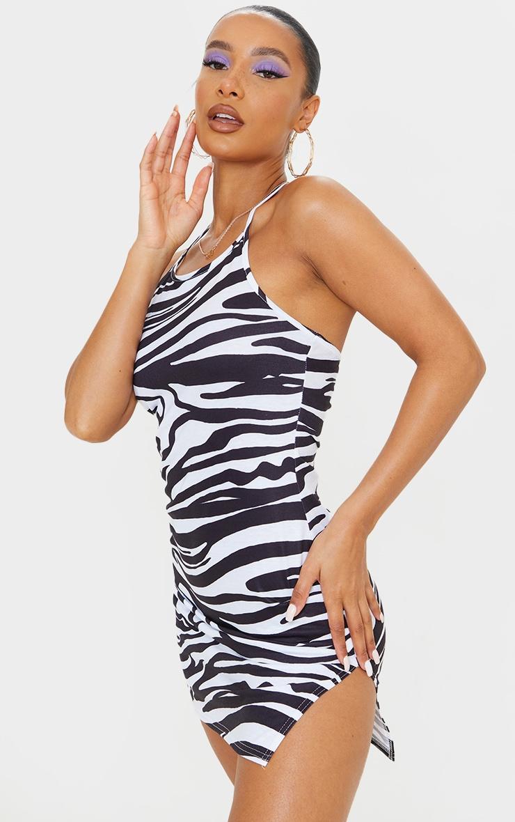 Black Zebra Print Halterneck Split Hem Bodycon Dress