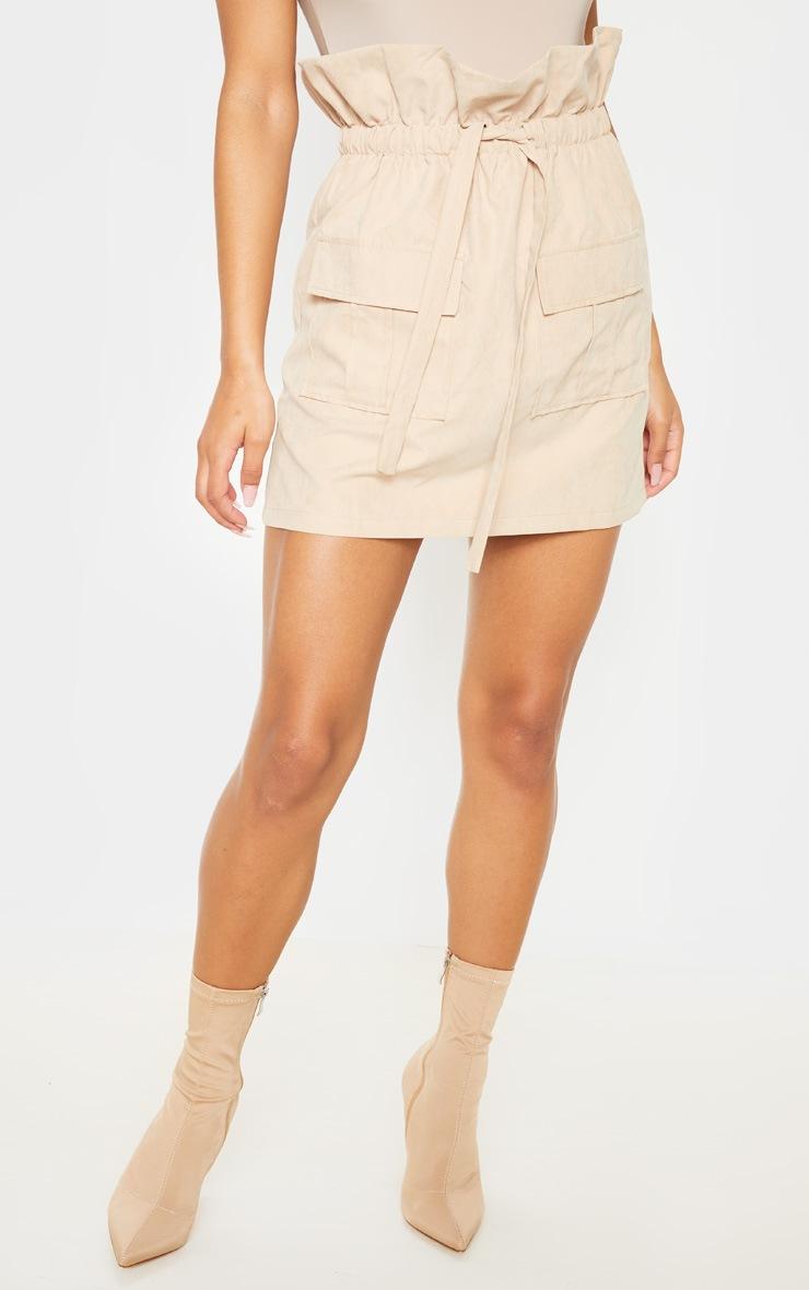 Mini jupe paperbag camel effet daim 2