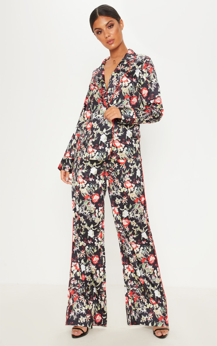 Multi Floral Satin Printed Wide Leg Trousers