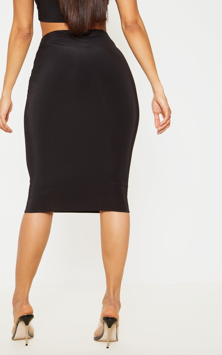 Black Second Skin Slinky Midi Skirt 4