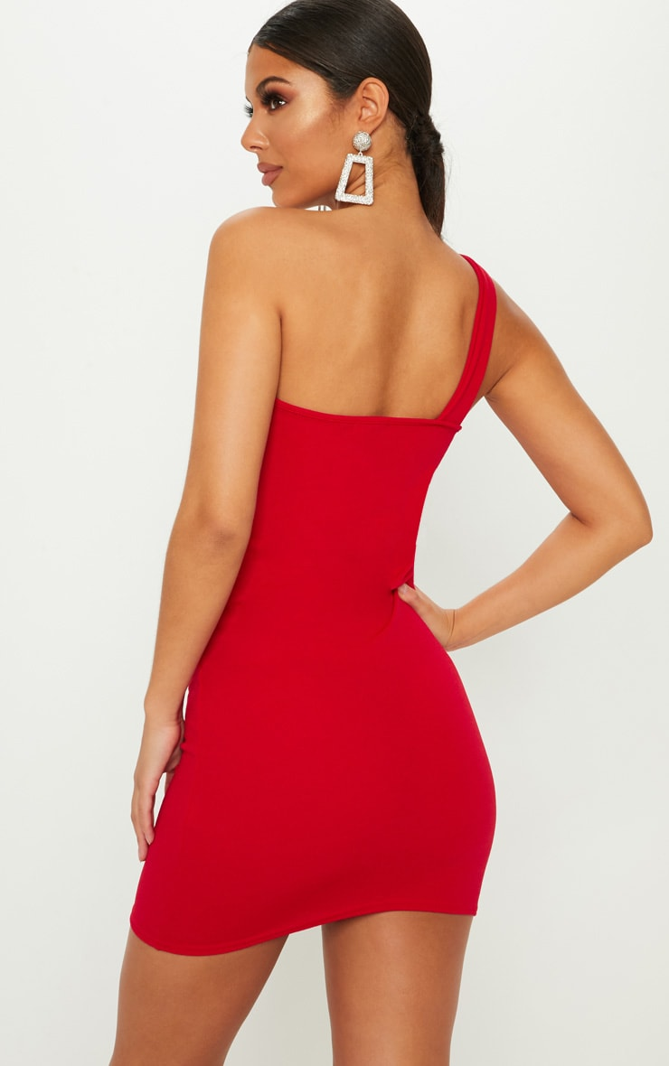 Red One Shoulder Ring Detail Bodycon Dress 2