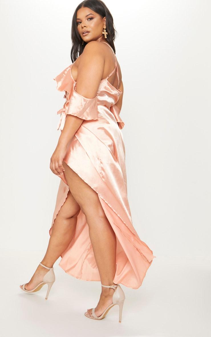 Plus Peach Satin Frill Detail Wrap Maxi Dress 2
