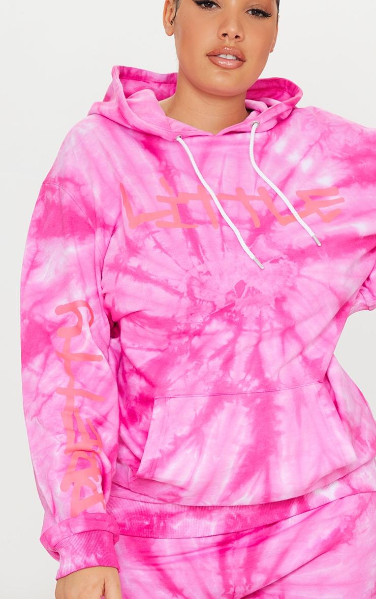 PRETTYLITTLETHING Plus Pink Tie Dye Grafitti Hoodie 4
